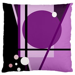 Purple geometrical abstraction Large Flano Cushion Case (One Side)