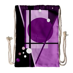 Purple geometrical abstraction Drawstring Bag (Large)
