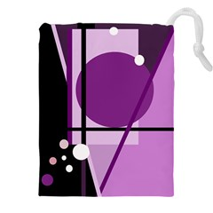 Purple geometrical abstraction Drawstring Pouches (XXL)