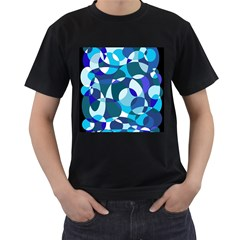 Blue abstraction Men s T-Shirt (Black) (Two Sided)