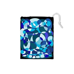 Blue abstraction Drawstring Pouches (Small)