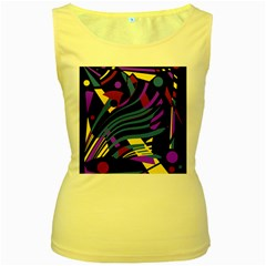 Optimistic abstraction Women s Yellow Tank Top