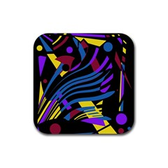 Optimistic abstraction Rubber Square Coaster (4 pack)
