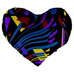 Optimistic abstraction Large 19  Premium Heart Shape Cushions
