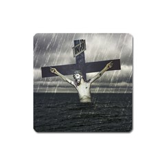 Jesus On The Cross At The Sea Square Magnet