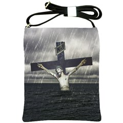 Jesus On The Cross At The Sea Shoulder Sling Bags