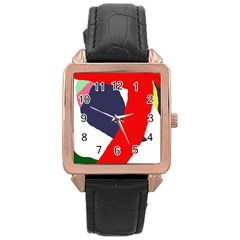 Beautiful abstraction Rose Gold Leather Watch