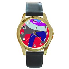 Crazy abstraction Round Gold Metal Watch