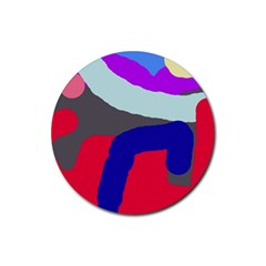 Crazy abstraction Rubber Round Coaster (4 pack)