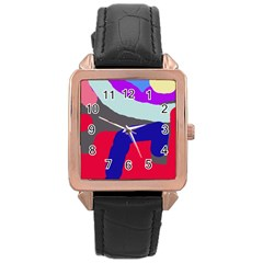 Crazy abstraction Rose Gold Leather Watch