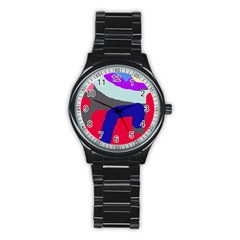Crazy abstraction Stainless Steel Round Watch
