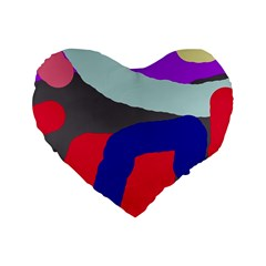 Crazy abstraction Standard 16  Premium Flano Heart Shape Cushions