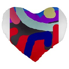 Crazy abstraction Large 19  Premium Flano Heart Shape Cushions