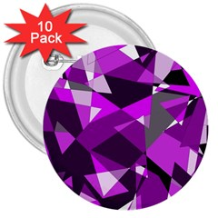 Purple broken glass 3  Buttons (10 pack)
