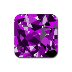 Purple broken glass Rubber Square Coaster (4 pack)
