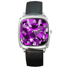 Purple broken glass Square Metal Watch