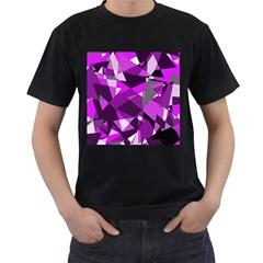 Purple broken glass Men s T-Shirt (Black) (Two Sided)