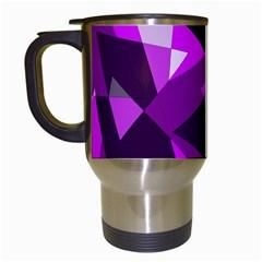 Purple broken glass Travel Mugs (White)