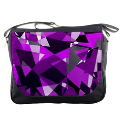 Purple broken glass Messenger Bags
