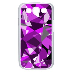 Purple broken glass Samsung Galaxy S III Case (White)