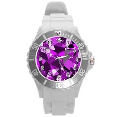 Purple broken glass Round Plastic Sport Watch (L)