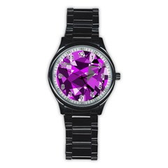 Purple broken glass Stainless Steel Round Watch