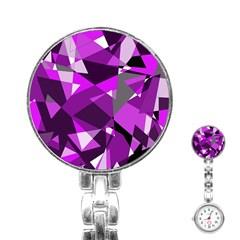 Purple broken glass Stainless Steel Nurses Watch