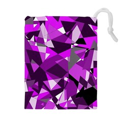 Purple broken glass Drawstring Pouches (Extra Large)