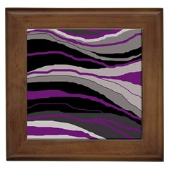 Purple and gray decorative design Framed Tiles