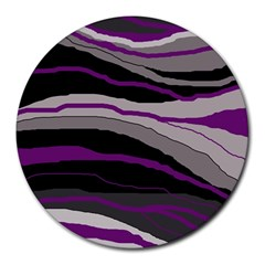 Purple and gray decorative design Round Mousepads