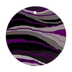 Purple and gray decorative design Ornament (Round)
