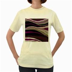 Purple and gray decorative design Women s Yellow T-Shirt