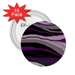 Purple and gray decorative design 2.25  Buttons (10 pack)