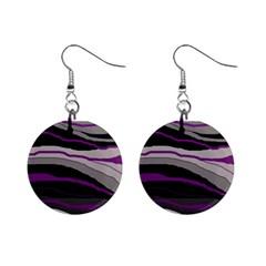 Purple and gray decorative design Mini Button Earrings