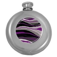 Purple and gray decorative design Round Hip Flask (5 oz)