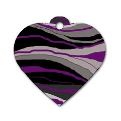 Purple and gray decorative design Dog Tag Heart (One Side)