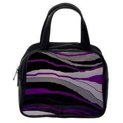 Purple and gray decorative design Classic Handbags (One Side)