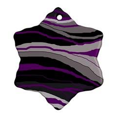 Purple and gray decorative design Snowflake Ornament (2-Side)