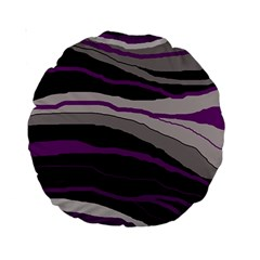 Purple and gray decorative design Standard 15  Premium Round Cushions
