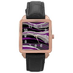 Purple and gray decorative design Rose Gold Leather Watch