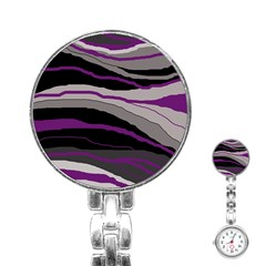 Purple and gray decorative design Stainless Steel Nurses Watch