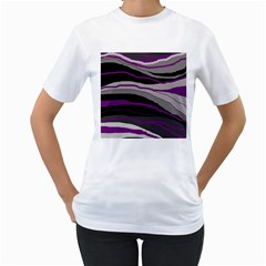 Purple and gray decorative design Women s T-Shirt (White)