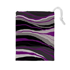 Purple and gray decorative design Drawstring Pouches (Large)