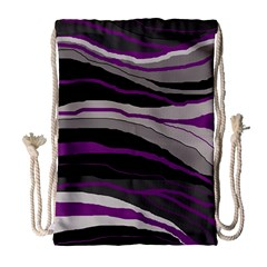 Purple and gray decorative design Drawstring Bag (Large)