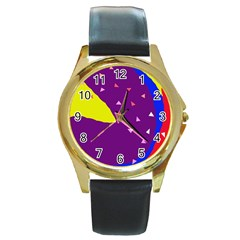 Optimistic abstraction Round Gold Metal Watch