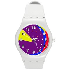 Optimistic abstraction Round Plastic Sport Watch (M)