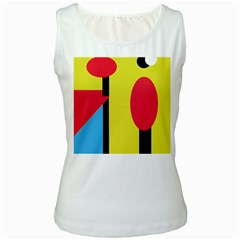 Abstract landscape Women s White Tank Top