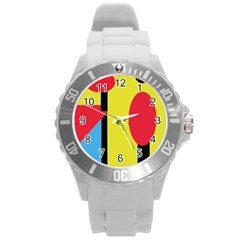 Abstract landscape Round Plastic Sport Watch (L)