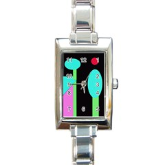 Abstract landscape Rectangle Italian Charm Watch