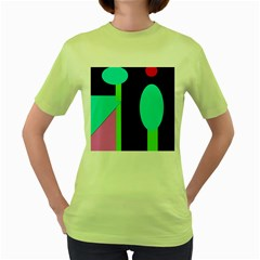 Abstract landscape Women s Green T-Shirt